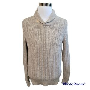 J. Crew Mens Shawl Collar Oatmeal Beige Elbow Patch Sweater Size Small